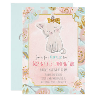 ANY AGE - Cute Kitten Floral Birthday Invitation