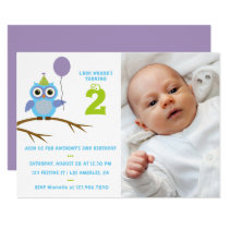 Any Age Cute Owl Baby or Toddler Boys Birthday Card