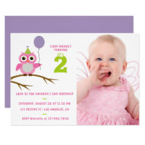 Any Age Cute Owl Baby or Toddler Girl Birthday Card