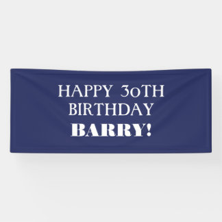 Any Age Dark Navy Blue White Happy Birthday Banner