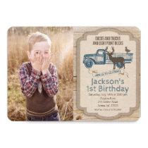 ANY AGE  Deer Truck Photo Birthday Invitation
