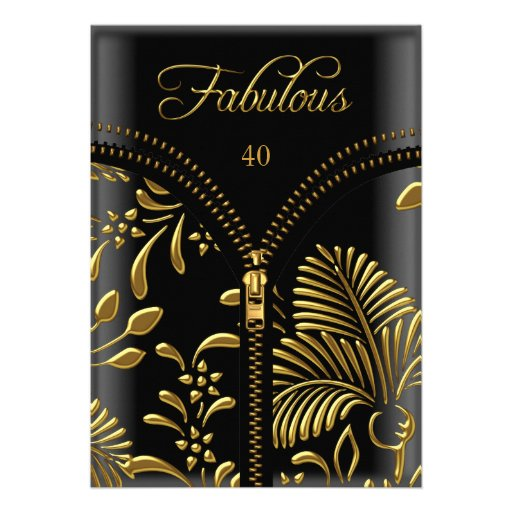 Any Age Fabulous Gold Black Corset Birthday Party Personalized Invitation