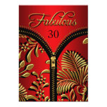 Any Age Fabulous Royal Red Gold Black Birthday Personalized Invite