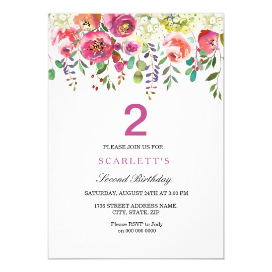 Any Age Girls 2nd Birthday Party Invitation