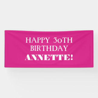 Any Age Hot Pink Custom Happy Birthday Banner