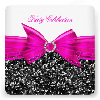 Any Age Luxury Glitter Hot Pink Bow Black White Invite