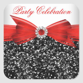 Any Age Luxury Glitter Red  Bow Sticker Square Sticker