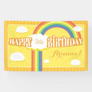Any Age Orange Yellow Rainbow Birthday Banner