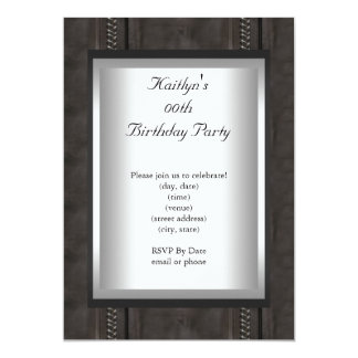 Any Age Party Birthday Black Suede Animal Skin Card
