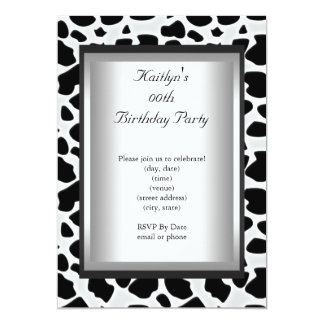 Any Age Party Birthday Black White Cow Animal Skin 5x7 Paper Invitation Card
