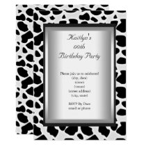 Any Age Party Birthday Black White Cow Animal Skin Invitation