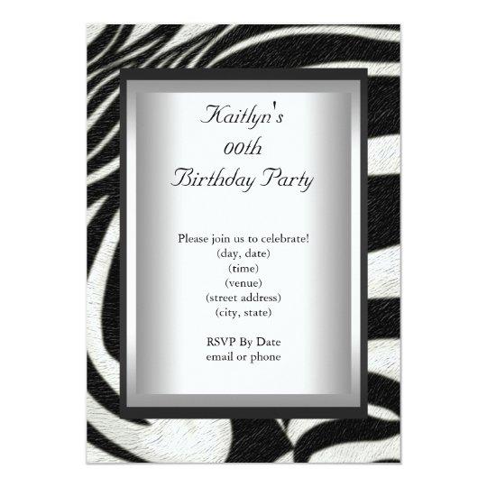 Any Age Party Birthday Black White Zebra Animal Card