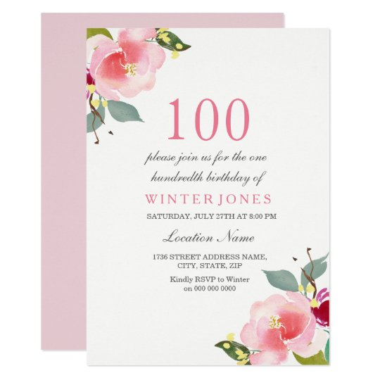 any age pink floral 100th birthday party invite zazzle com