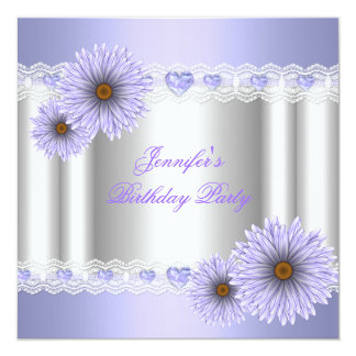 Any Age Pretty Silver Lilac Birthday Party Flower 5.25x5.25 Square Paper Invitation Card
