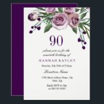 "Any Age Purple Plum Rose 90th Birthday Invitation<br><div class=""desc"">Elegant Plum Purple Rose 90th Birthday Invitation  Matching collection in Niche and Nest store.  Design courtesy of: https://www.etsy.com/shop/SmallHouseBigPony</div>"