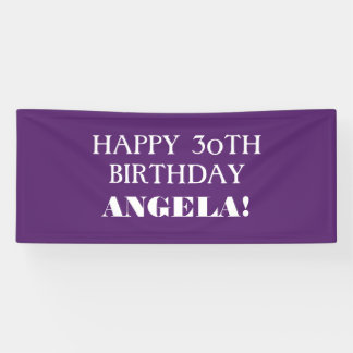 Any Age Purple White Custom Happy Birthday Banner