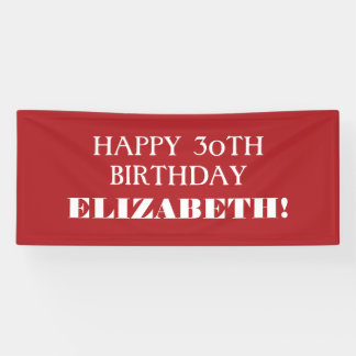 Any Age Red White Custom Happy Birthday Banner