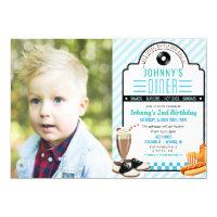 ANY AGE - Retro Diner Birthday Photo Invitation