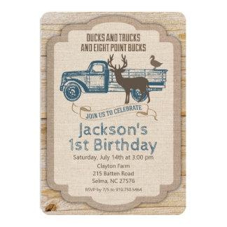 ANY AGE Rustic Deer Truck Boy Birthday Invitation