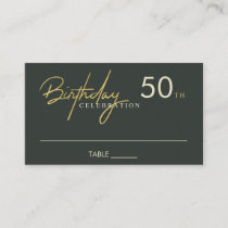 ANY AGE SIMPLE BLACK GOLD BIRTHDAY PLACE CARD