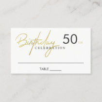 ANY AGE SIMPLE ELEGANT FAUX GOLD BIRTHDAY PLACE BUSINESS CARD