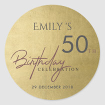 ANY AGE SIMPLE ELEGANT GOLD TYPOGRAPHY BIRTHDAY CLASSIC ROUND STICKER