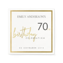 ANY AGE SIMPLE ELEGANT GOLD TYPOGRAPHY BIRTHDAY NAPKIN