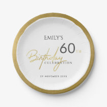 ANY AGE SIMPLE ELEGANT GOLD TYPOGRAPHY BIRTHDAY PAPER PLATE