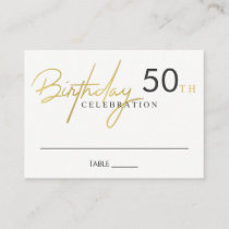 ANY AGE SIMPLE ELEGANT GOLD TYPOGRAPHY BIRTHDAY PLACE CARD