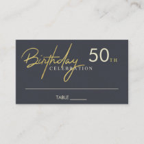 ANY AGE SIMPLE ELEGANT NAVY GOLD BIRTHDAY PLACE BUSINESS CARD