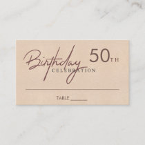 ANY AGE SIMPLE ELEGANT SOFT PINK BIRTHDAY PLACE BUSINESS CARD