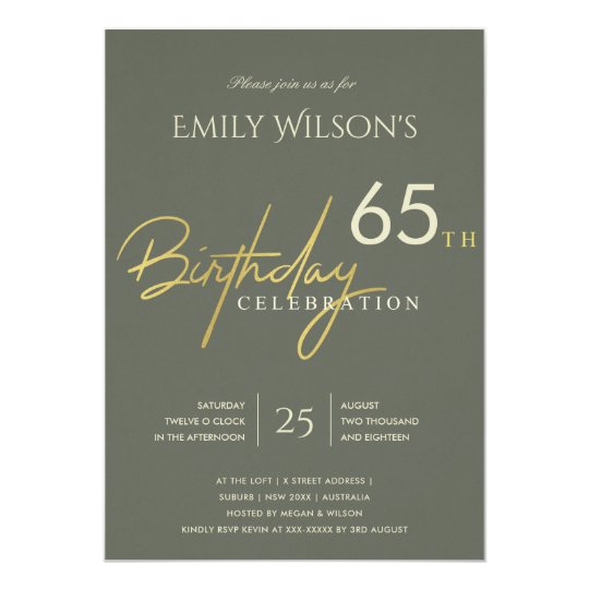 Any age simple grey gold typography birthday invitation zazzle any age simple grey gold typography birthday invitation stopboris Images