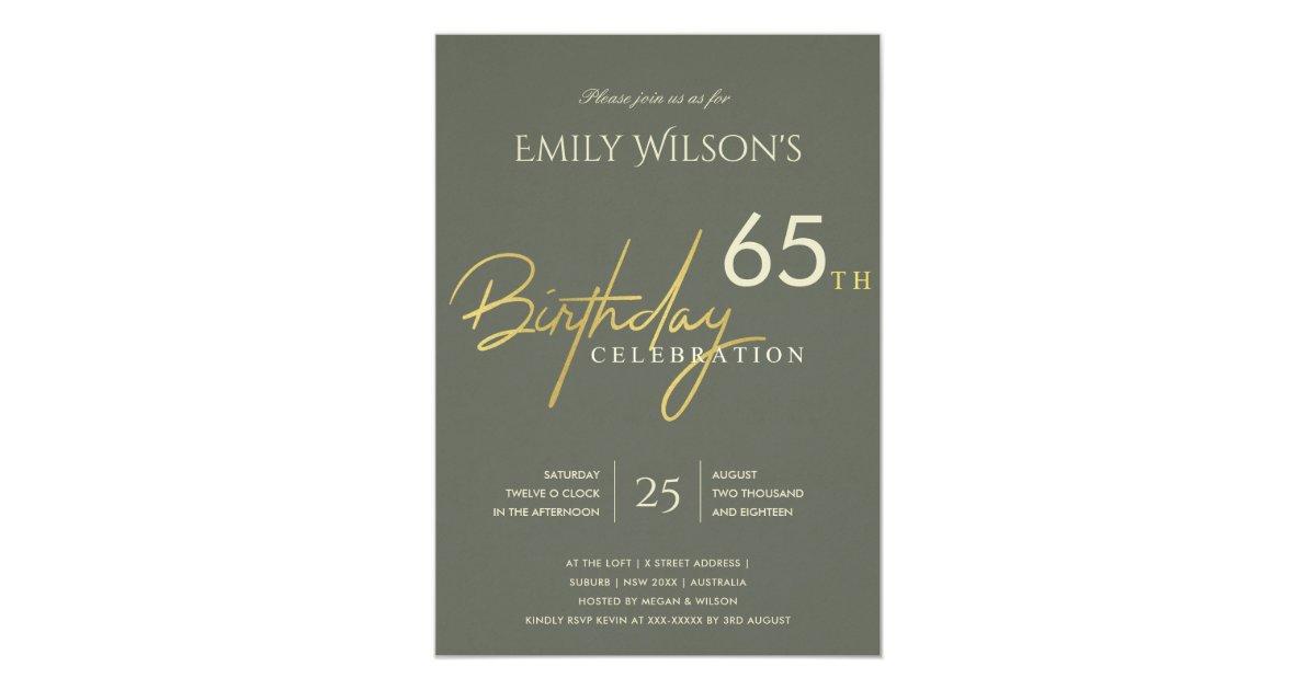 Any age simple grey gold typography birthday invitation zazzle stopboris Images