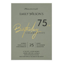 ANY AGE SIMPLE GREY GOLD TYPOGRAPHY BIRTHDAY INVITATION