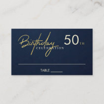 ANY AGE SIMPLE NAVY GOLD BIRTHDAY PLACE CARD