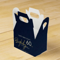 ANY AGE SIMPLE NAVY GOLD TYPOGRAPHY BIRTHDAY FAVOR BOX