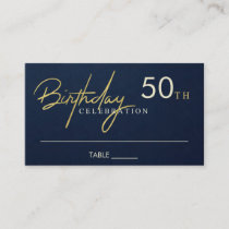 ANY AGE SIMPLE NAVY GOLD TYPOGRAPHY BIRTHDAY PLACE CARD