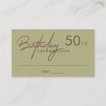 ANY AGE SIMPLE RUSTIC KRAFT BIRTHDAY PLACE BUSINESS CARD