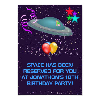 "ANY AGE Space Alien Kids Birthday Party Invite 5"" X 7"" Invitation Card"