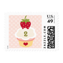Any Age Strawberry Cupcake Birthday Postage Stamps
