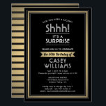 "Any Age Surprise Birthday Black Gold White 50th Invitation<br><div class=""desc"">Shhh! Can you keep a secret? Invite family and friends to an elegant and exciting surprise birthday party celebration for him or her with this black, white and faux gold invitation. Design features a modern metallic look border and stylish vintage art deco inspired typography. Please note that gold is printed...</div>"