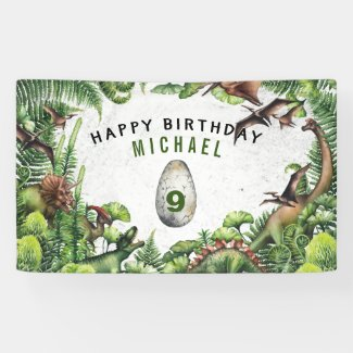 ANY AGE T-Rex Dinosaur Boy's Birthday Party Banner
