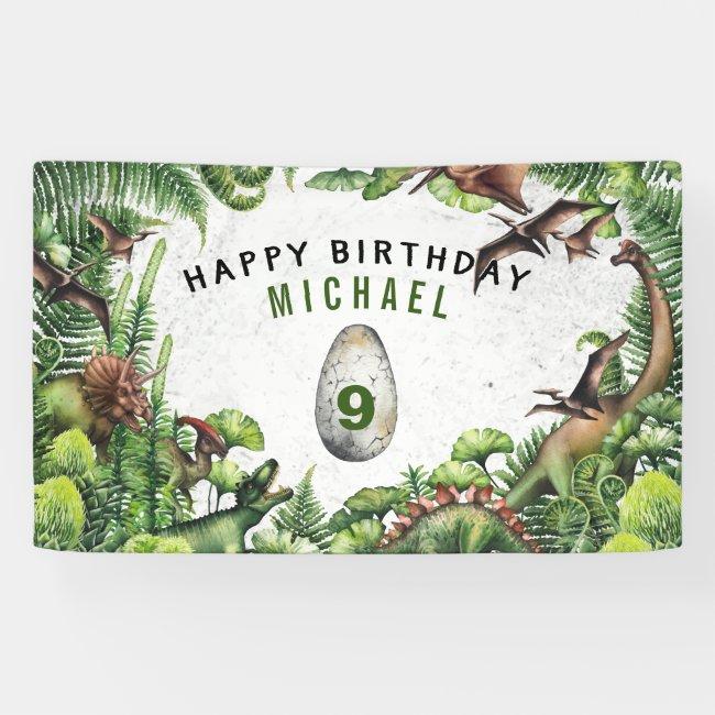 ANY AGE T-Rex Dinosaur Boy's Birthday Party Banner