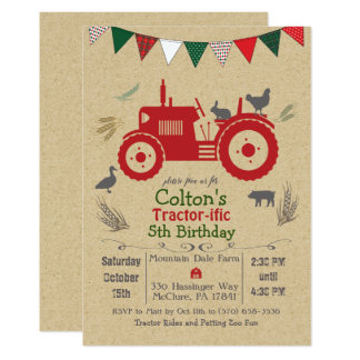 ANY AGE - Tractor Farm Animals Birthday Invitation