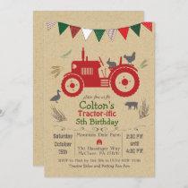 ANY AGE - Tractor Farm Animals Birthday Invitation