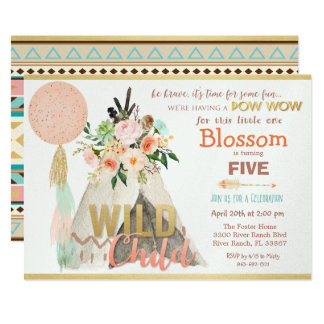 ANY AGE - Tribal Teepee Tipi Birthday Invitation