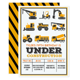 ANY AGE - Under Construction Birthday Invitation