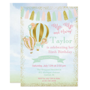 Hot Air Balloon Invitations Announcements Zazzle