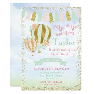 Hot air balloon invitations announcements zazzle any age up away hot air balloon invitation filmwisefo
