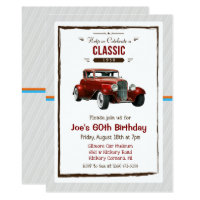 ANY AGE - Vintage Classic Car Birthday Invitation